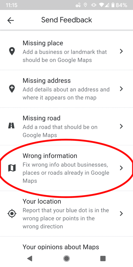 "Step 3 - Expand the ""Wrong Information"" menu."